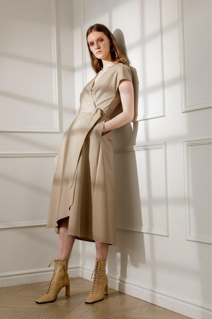 Diana Arno - Adele Cotton Wrap Dress In Sandy Beige