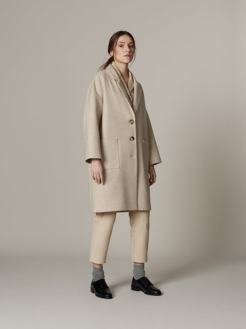 Loose Wool Overcoat Beige