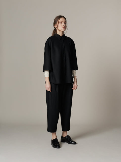 Pleated Wool Trousers Black