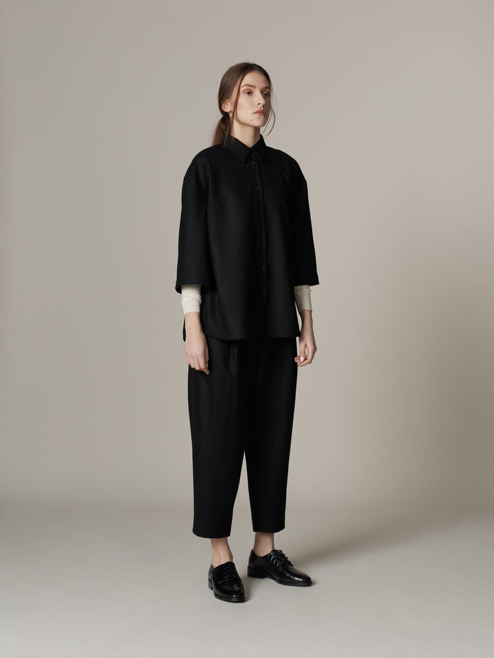 - Pleated Wool Trousers Black