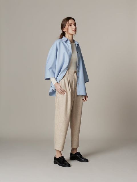 Pleated Wool Trousers Beige