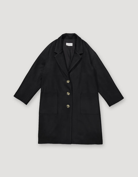 Loose Wool Overcoat Black