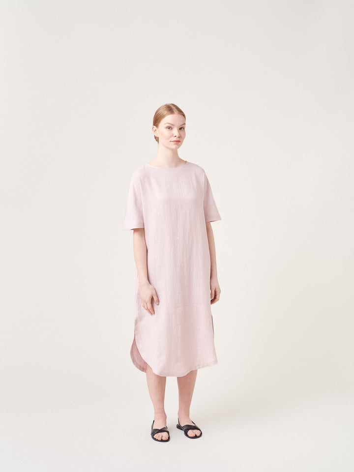 - T-Shirt Dress with Belt Faded Pink