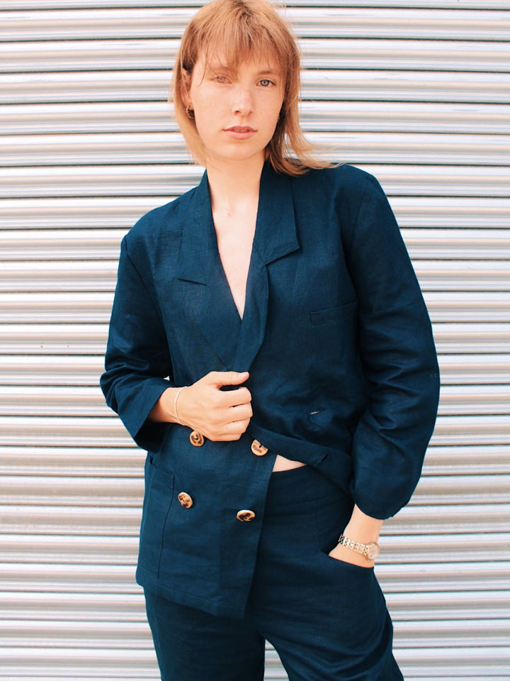 Fanfare - Ethically Made Navy Linen Suit