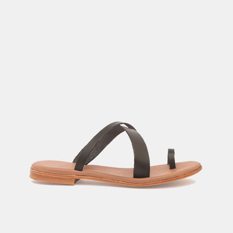 CARLA Leather Sandal Black