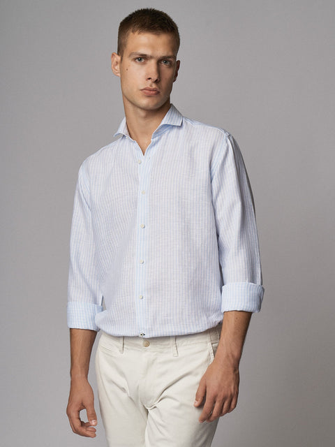 Linen Shirt Stripes Light Blue