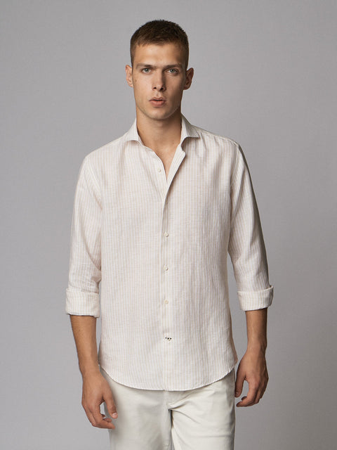 Linen Shirt Stripes Nature