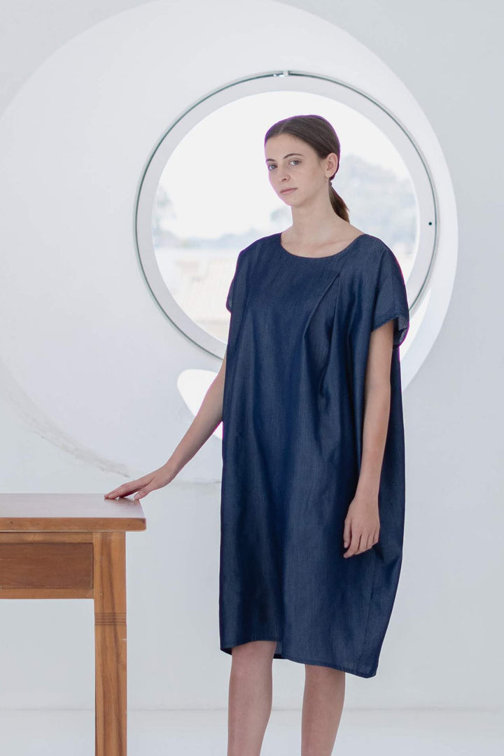 ABLESIA - Dress Cocoon in Blue Lyocell