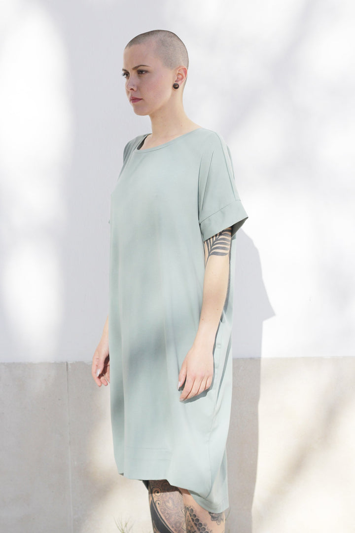 ABLESIA - Dress Oversized Midi in Green Watercolor