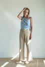- Linen beige checkered button pants, image no.2
