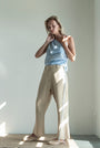 - Linen beige checkered button pants, image no.4