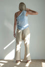 - Linen beige checkered button pants, image no.5
