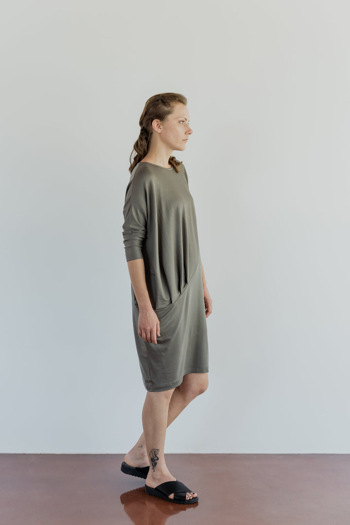 ABLESIA - DRESS DRAPED IN TAUPE