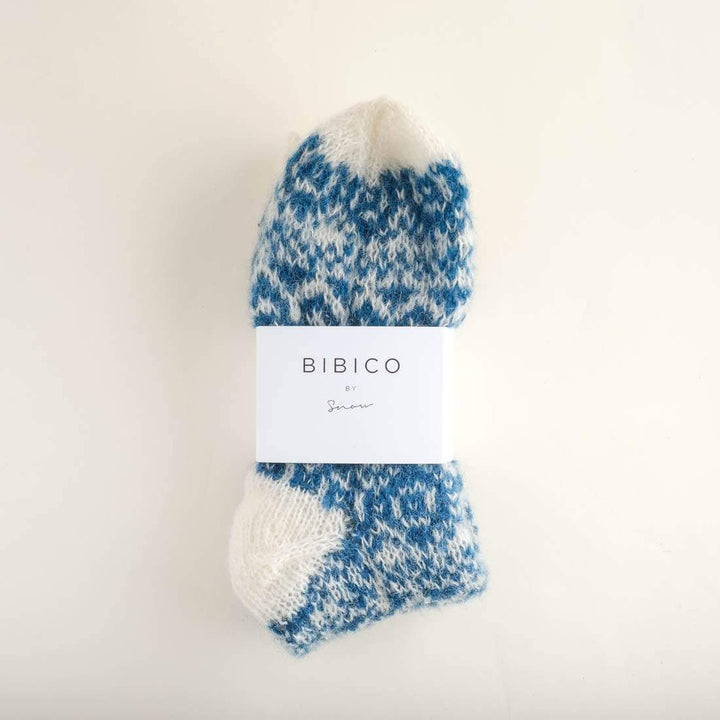 - Hand Knitted Mohair Slipper Socks Ecru / Teal