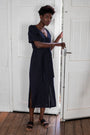 VERYAN - #040 Linen midi dress - navy, image no.2