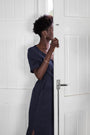 VERYAN - #040 Linen midi dress - navy, image no.3