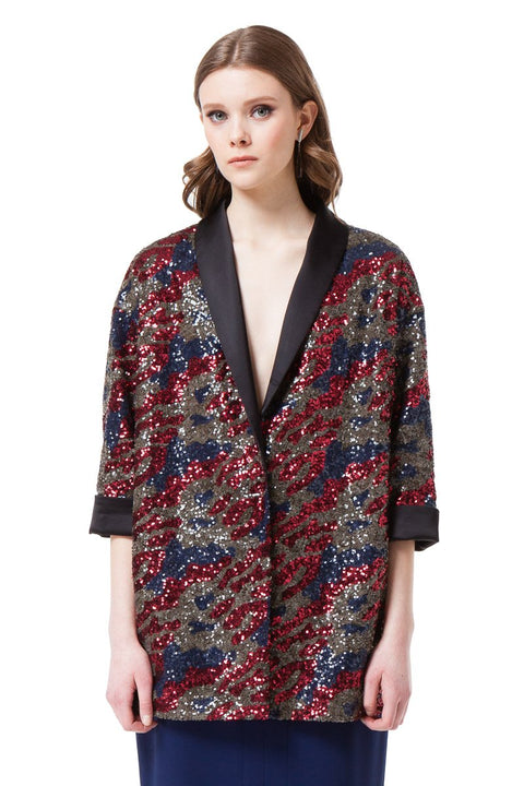 JULIE SEQUIN JACKET IN RED AND BLUE