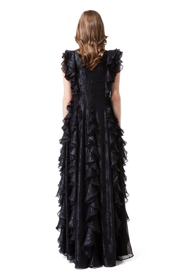 Diana Arno - ELISABETH BLACK GOWN WITH RUFFLES