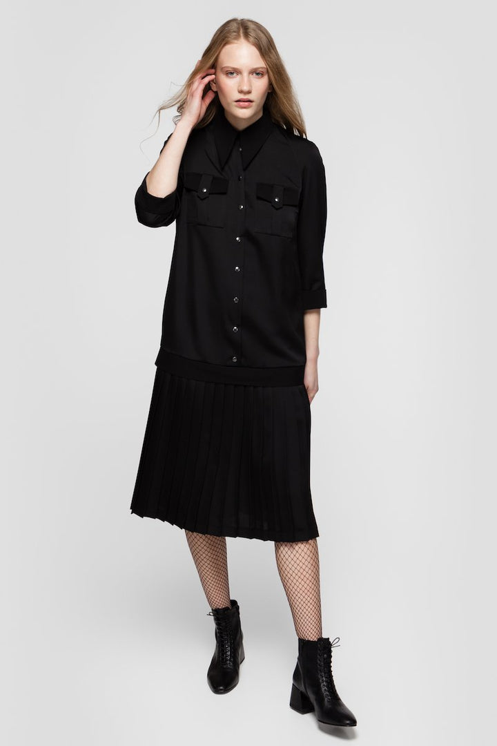 - SONIA PLEATED SHIRT DRESS IN BLACK