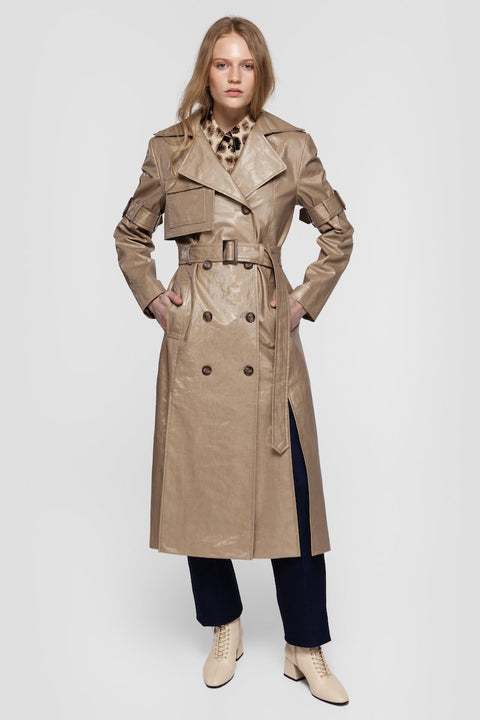 GISELE COATED TRENCH COAT IN GLOSSY BEIGE
