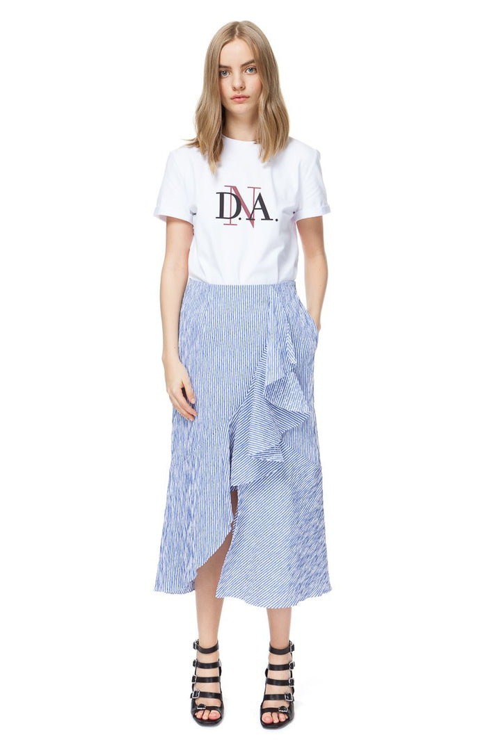 Diana Arno - BELLE STRIPED MIDI SKIRT IN BLUE