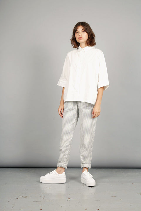 LILA TICKING Organic Cotton Trousers Pin Stripe