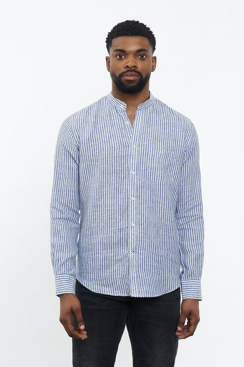 Linen Shirt Lisbon Dark Blue White Stripes