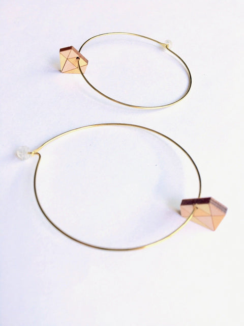 Big Diamond Hoops - Peach