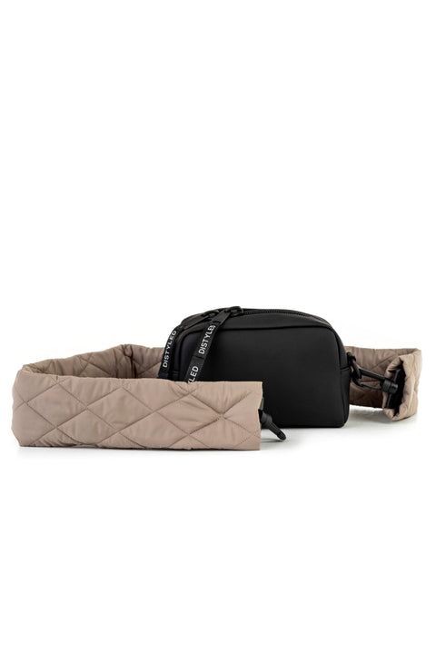 Eco Camera Bag Small Quilted Strap Black