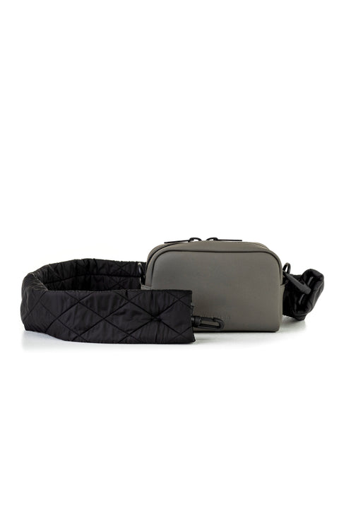 Eco Camera Bag Small Quilted Strap Grey