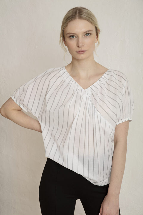 SINAI COTTON VOILE BLOUSE - WHITE