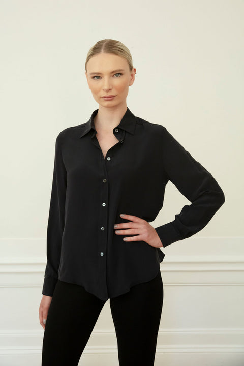 WINONA SILK SHIRT - BLACK