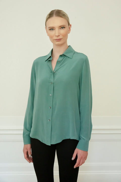 WINONA SILK SHIRT - STONE GREEN