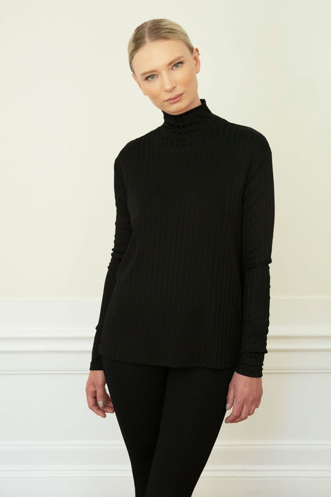 SHUNA RIB TOP - BLACK
