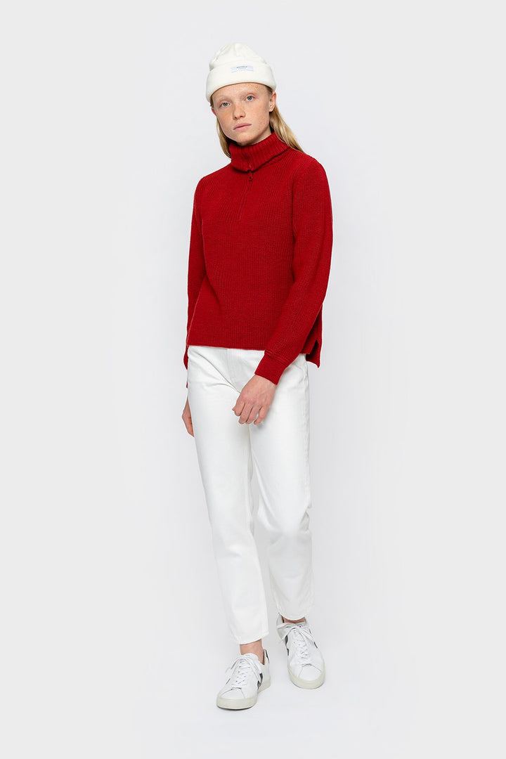 Rotholz - Cropped Strick Knitted Sweater Red