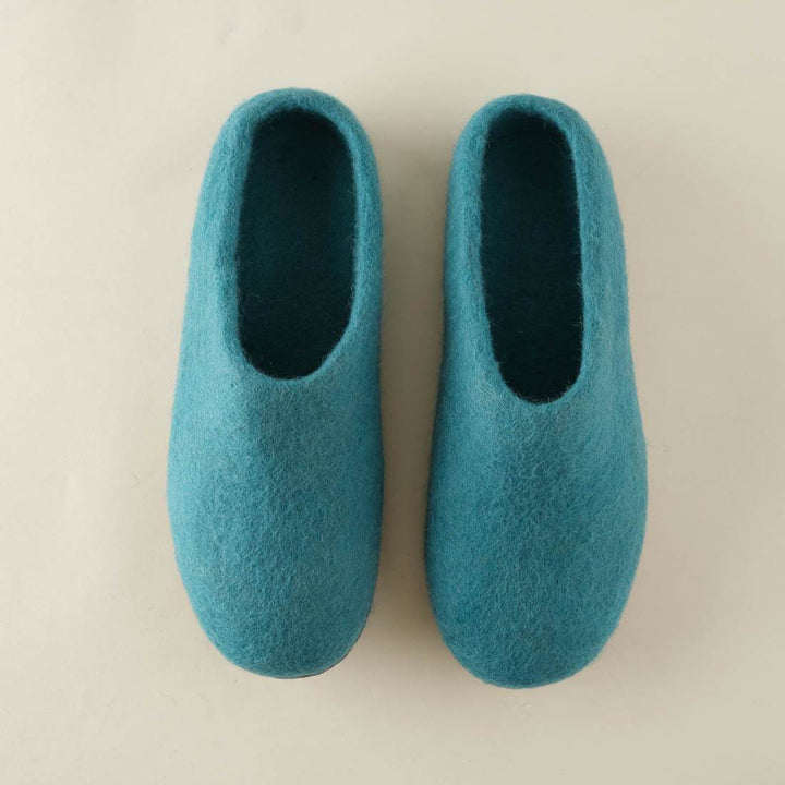 BIBICO - Greta Felted Wool Slippers Turquoise