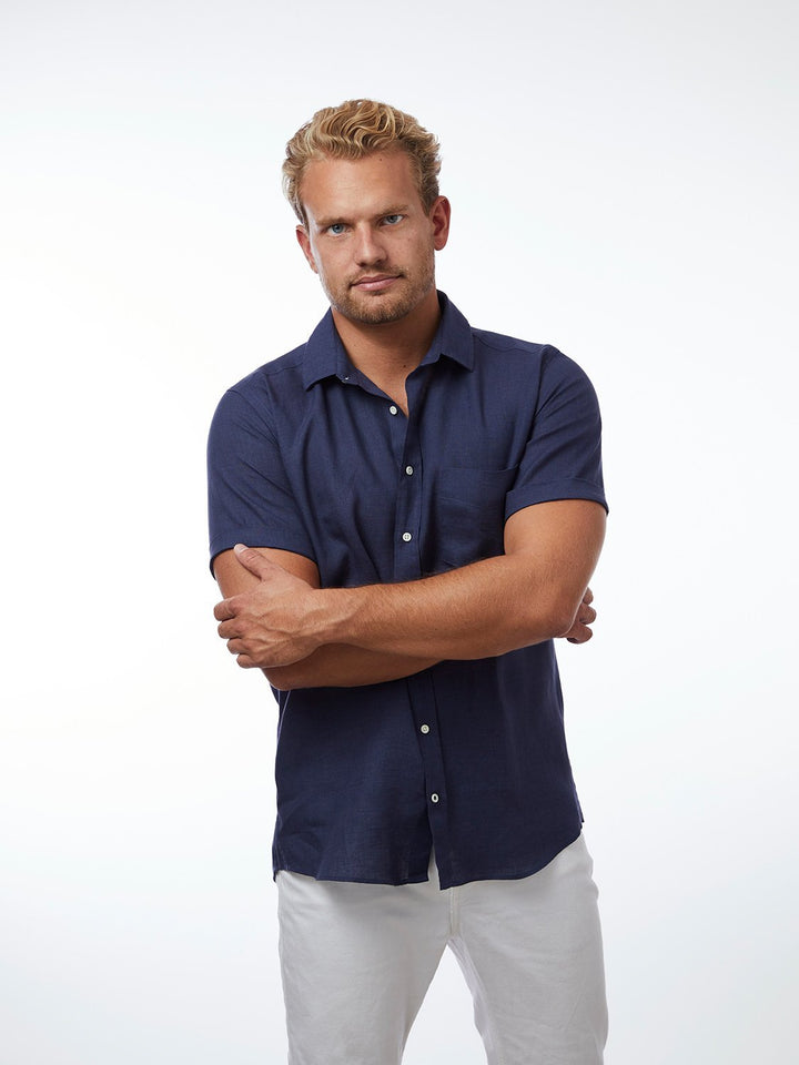 CARPASUS - Short Sleeve Linen Shirt Navy