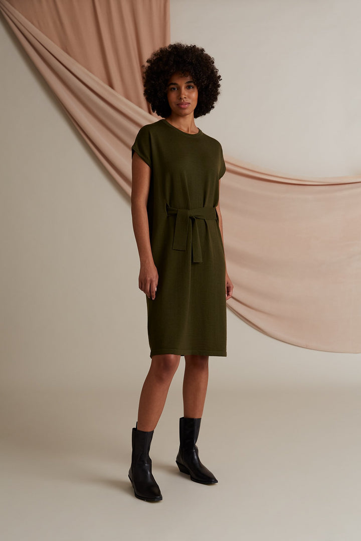 Voglia - Celeste Short Sleeve Knit Dress Pine Green
