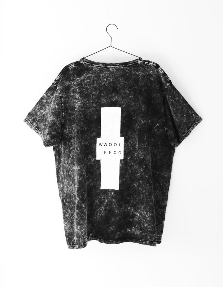 - WWOOLLFF Cross | Oversized Acid Washed Black Tee