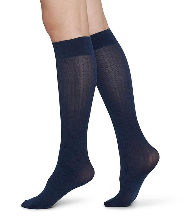 Swedish Stockings - Freja Bio Wool Knee-Highs Navy