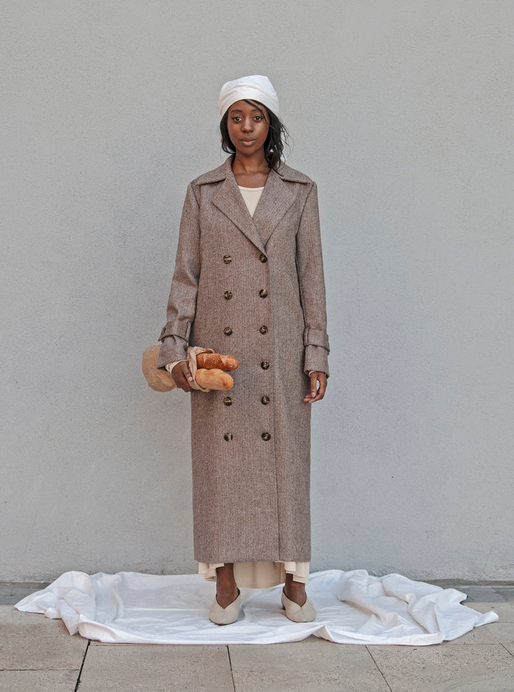 - BABUSHKA VINTAGE FABRIC MOCCA WOOL COAT