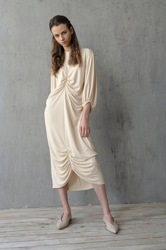CREAM DRAPED SHTORA DRESS