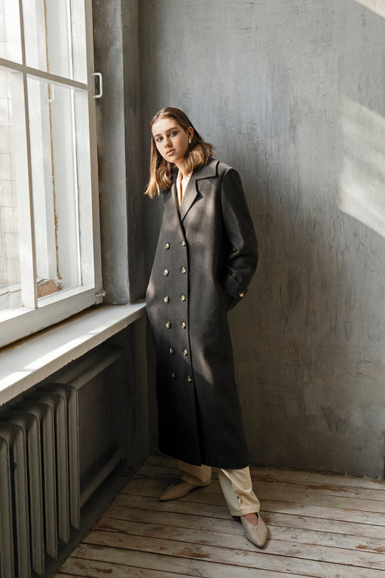 CHOCOLATE WOOL CLASSIC TRENCH COAT