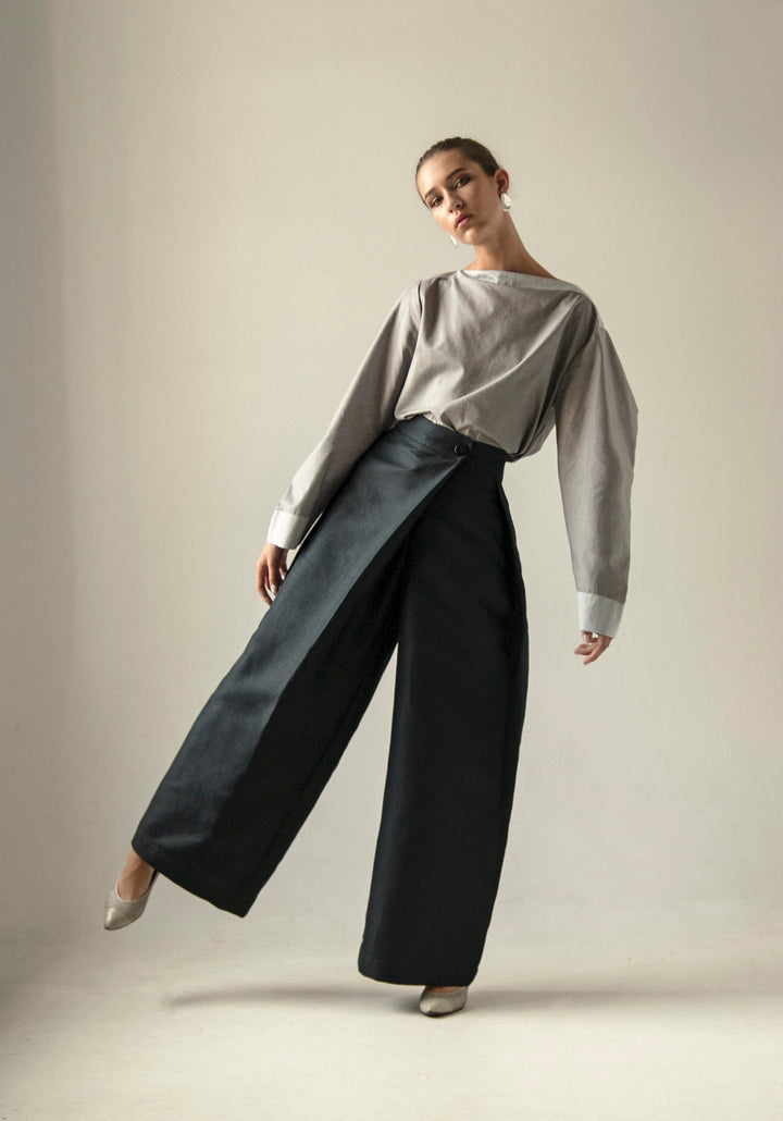 - Wide leg crossover Button Sharovary pants