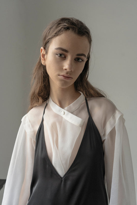 OFFWHITE SILK WEIGHTLESS CROSSOVER BLOUSE