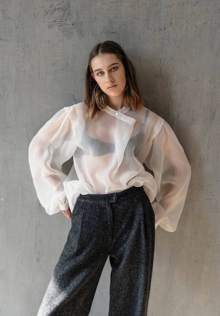 K M by L A N G E - OFFWHITE SILK WEIGHTLESS CROSSOVER BLOUSE