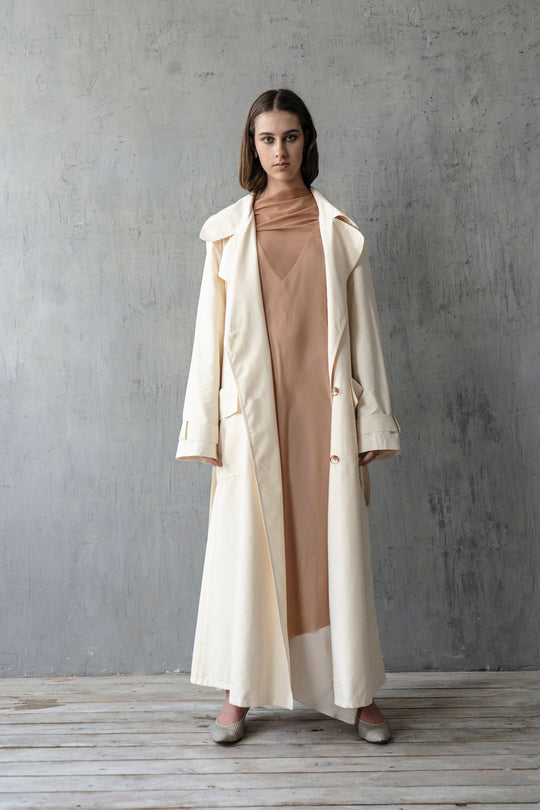 CREAM OVERSIZE CLASSIC TRENCH COAT
