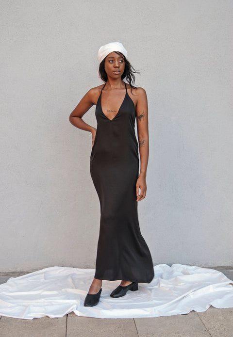 BLACK OPEN BACK ASYMMETRIC SLIP DRESS