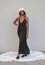 K M by L A N G E - BLACK OPEN BACK ASYMMETRIC SLIP DRESS, image no.1
