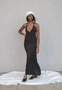 K M by L A N G E - BLACK OPEN BACK ASYMMETRIC SLIP DRESS, image no.8